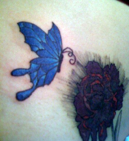 Triple blue butterfly